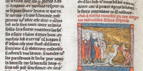 Merlin shows Vortigern two dragons, from a 1316 manuscript of the Romance of Lancelot, British Library, Add MS 10292