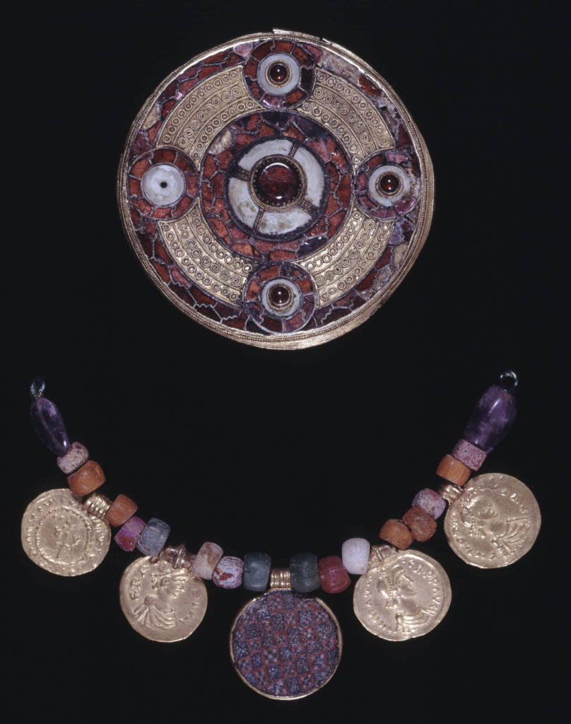 ©Trustees of the British Museum; Sarre Brooch (disk brooch); necklace; bead; early Anglo-Saxon; early Byzantine; 7th (early) Sarre