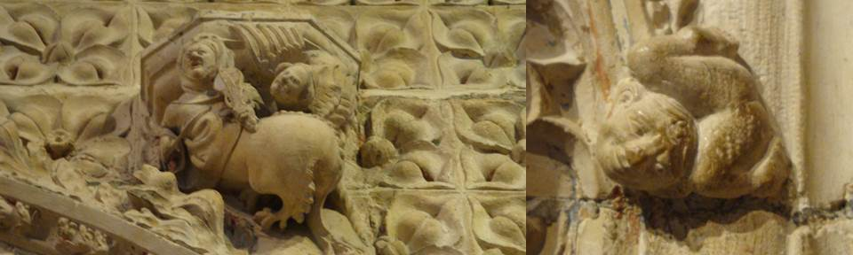 Left: Carving of a centaur playing a fiddle. Right: a contortionist?